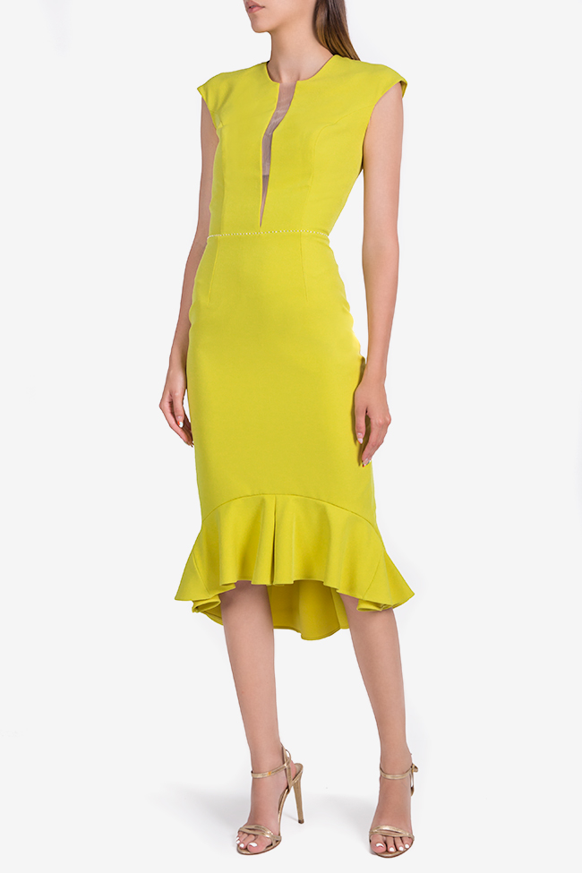 Green Retro asymmetric crepe midi dress Nicole Enea image 0
