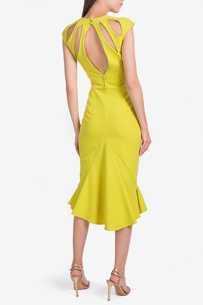 Green Retro asymmetric crepe midi dress Nicole Enea image 2