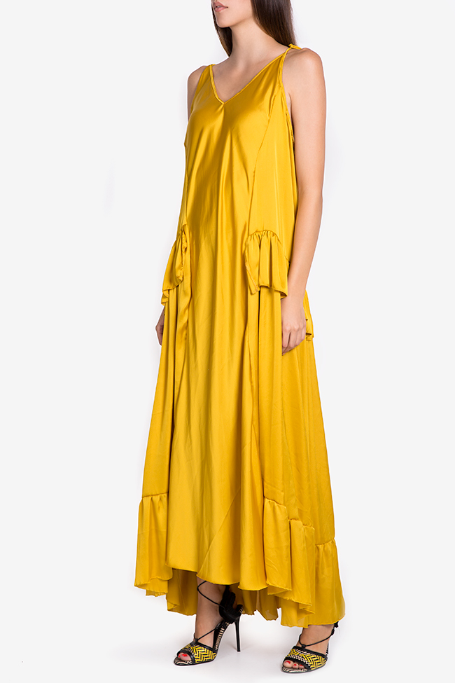 Asymmetric satin maxi dress Studio Cabal image 0