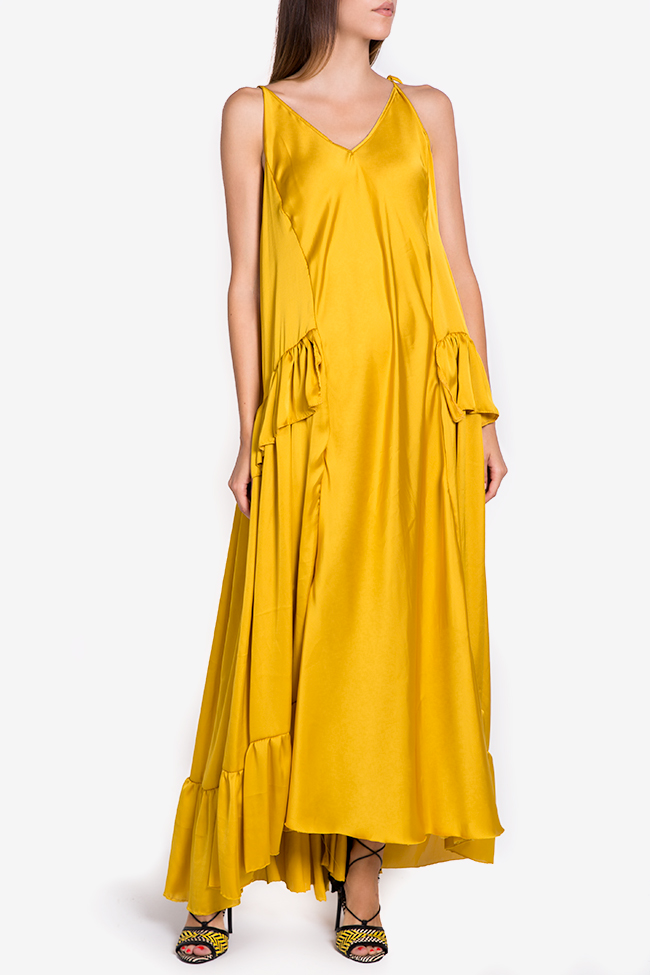 Asymmetric satin maxi dress Studio Cabal image 1