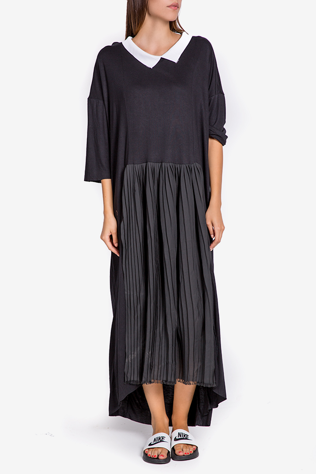 Pleated Ceremony asymmetric cotton-blend jersey dress Studio Cabal image 1