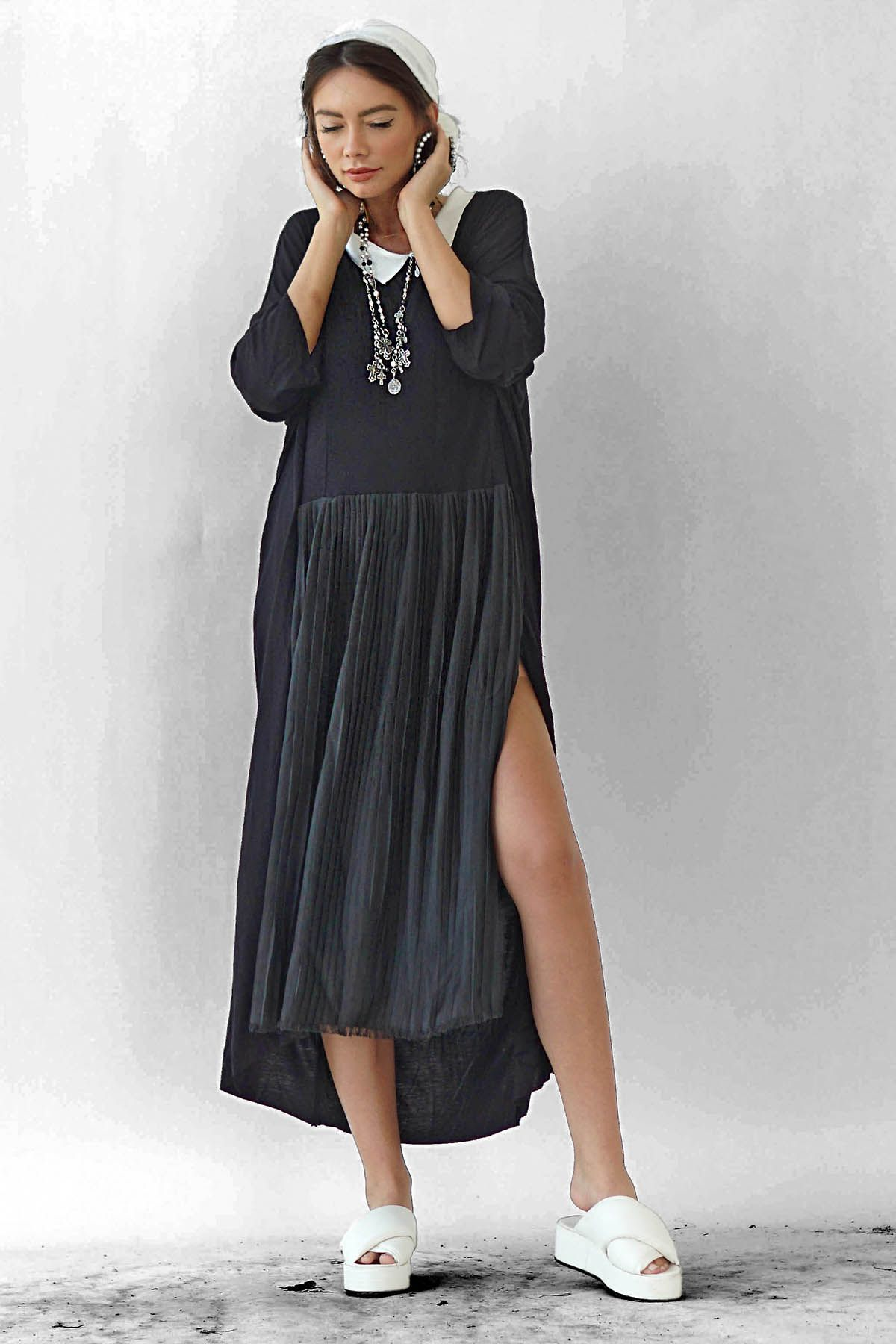 Pleated Ceremony asymmetric cotton-blend jersey dress Studio Cabal image 4