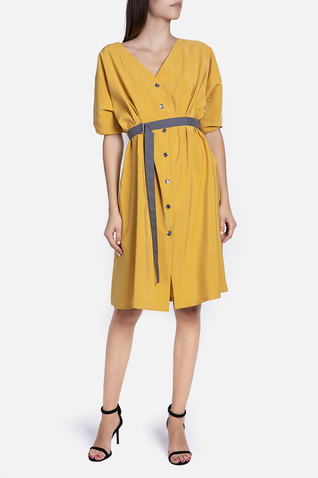 Belted cotton-blend midi dress Undress image 1