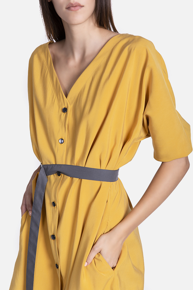Belted cotton-blend midi dress Undress image 3