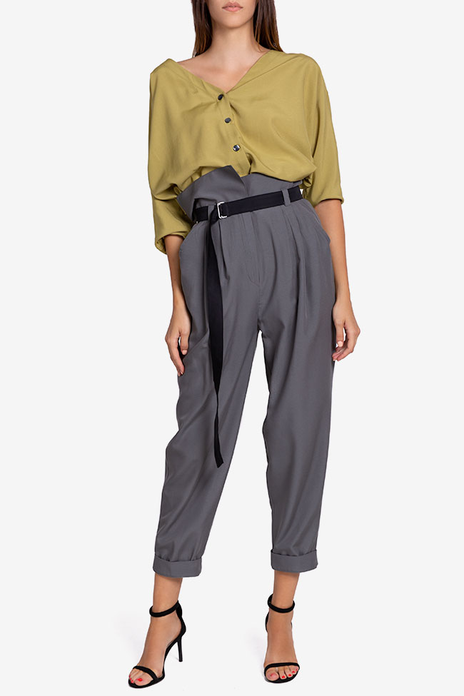 Belted cropped gabardine tapered pants Undress image 1