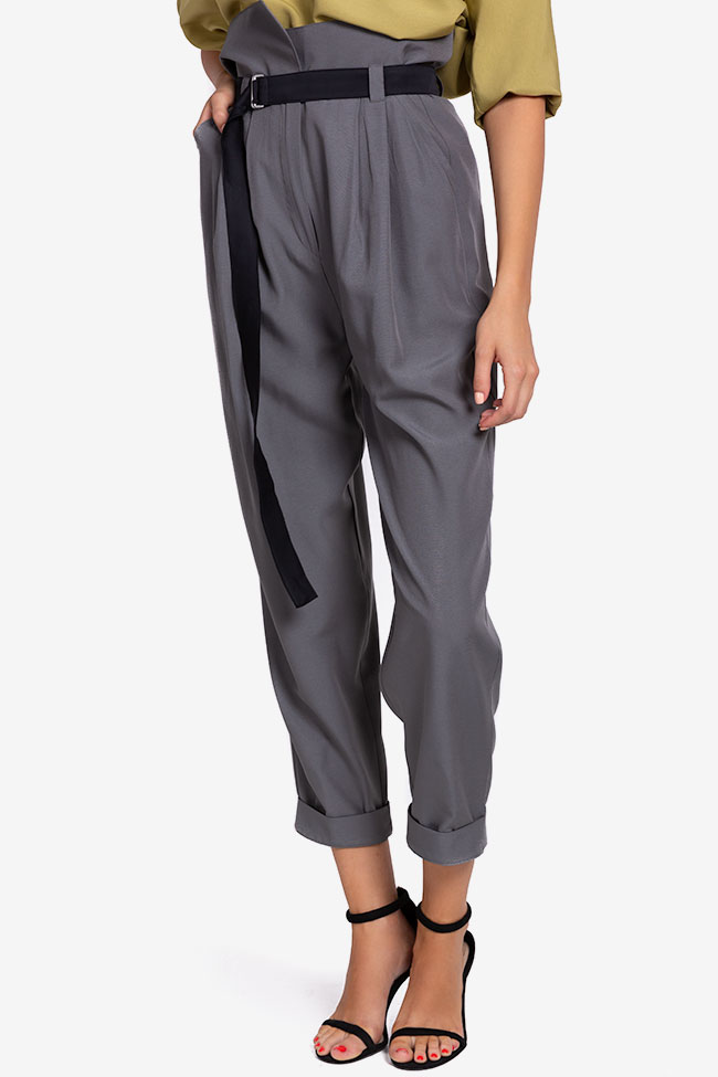 Belted cropped gabardine tapered pants Undress image 0