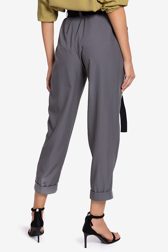 Belted cropped gabardine tapered pants Undress image 2