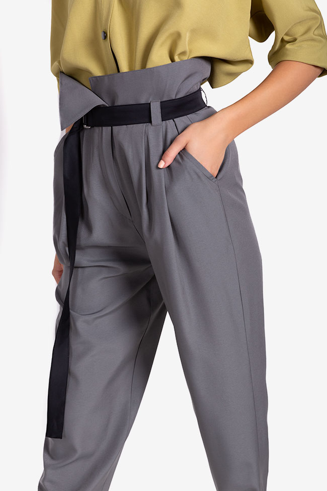 Belted cropped gabardine tapered pants Undress image 3