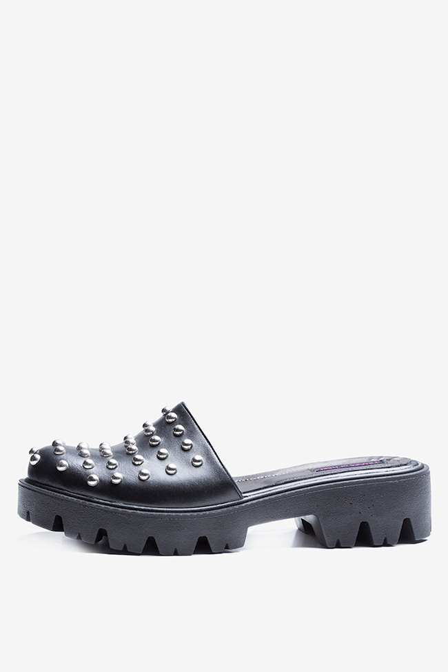 Quees of the damned studded leather platform mules Traces of Heels image 0