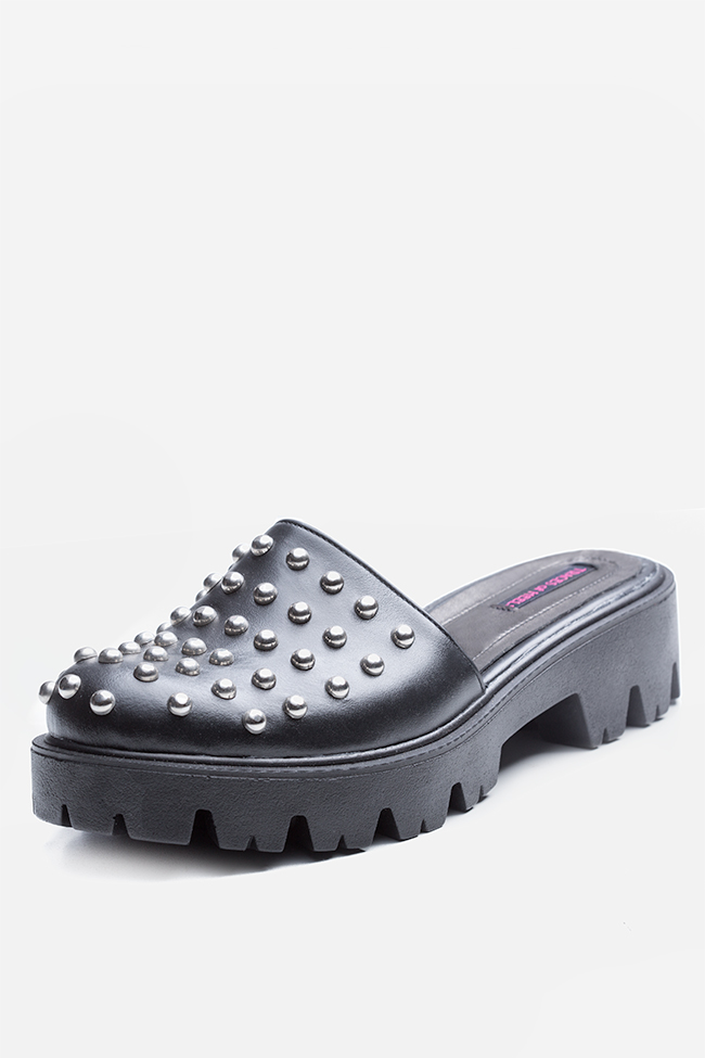 Quees of the damned studded leather platform mules Traces of Heels image 1