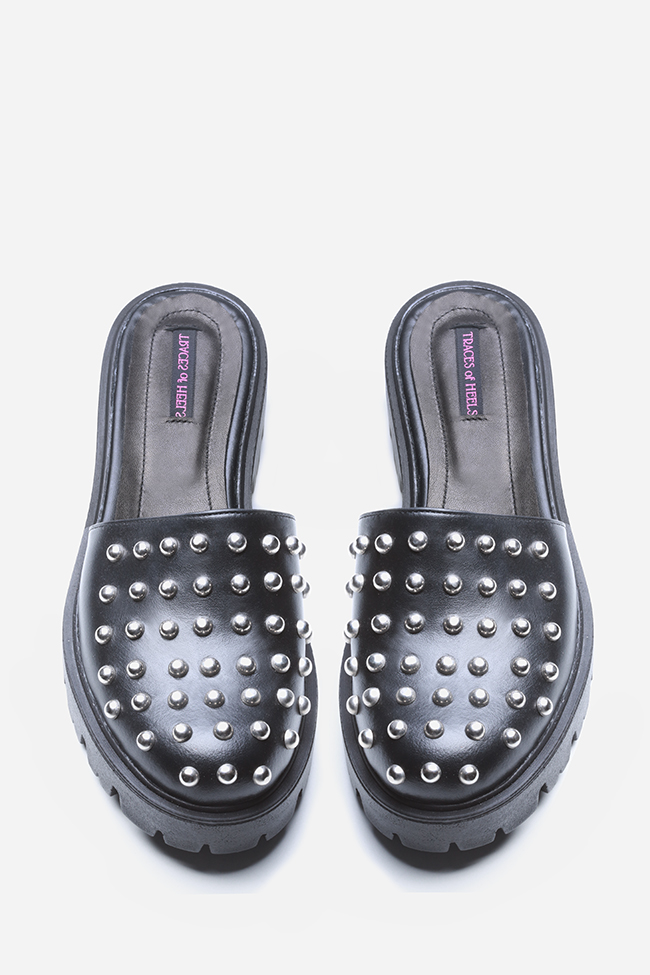Quees of the damned studded leather platform mules Traces of Heels image 2