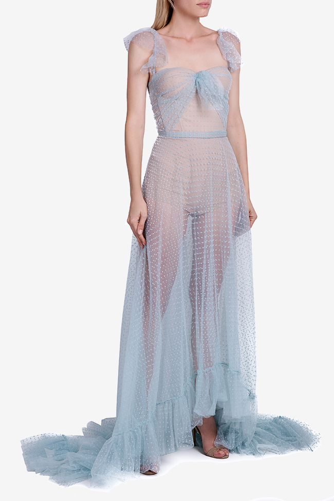 Ruffled Swiss-dot cotton-blend tulle maxi dress Nicole Enea image 1
