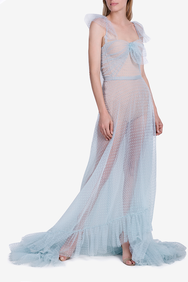 Ruffled Swiss-dot cotton-blend tulle maxi dress Nicole Enea image 0
