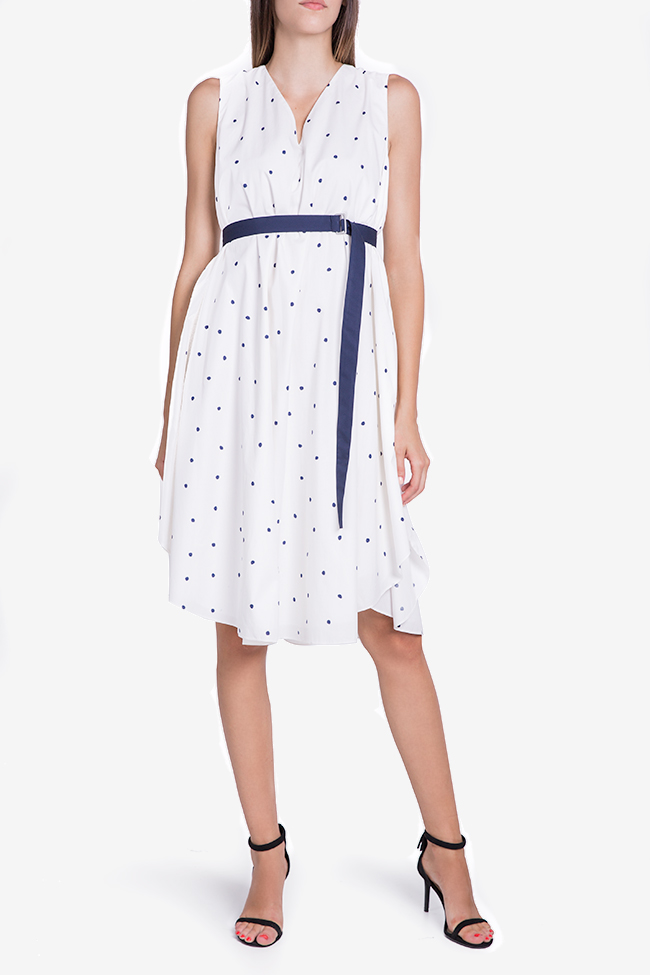 Belted polka-dot midi dress Undress image 1