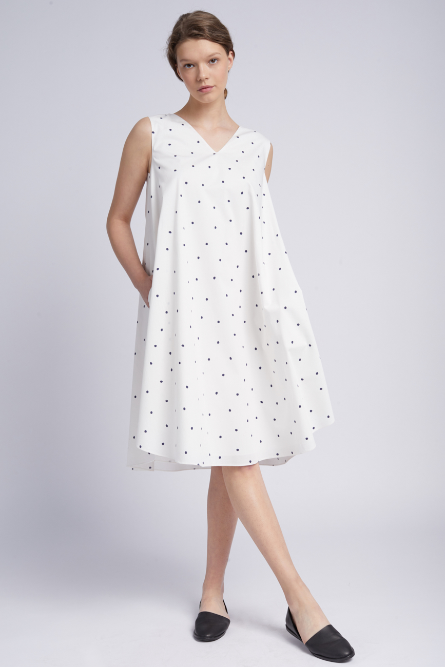 Belted polka-dot midi dress Undress image 4