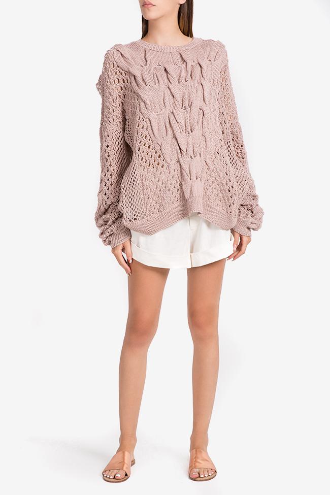 Oversized cutout cotton knitted sweater NARRO image 1