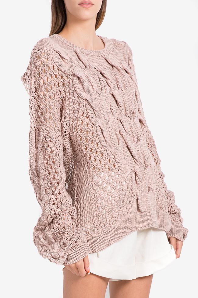 Oversized cutout cotton knitted sweater NARRO image 0