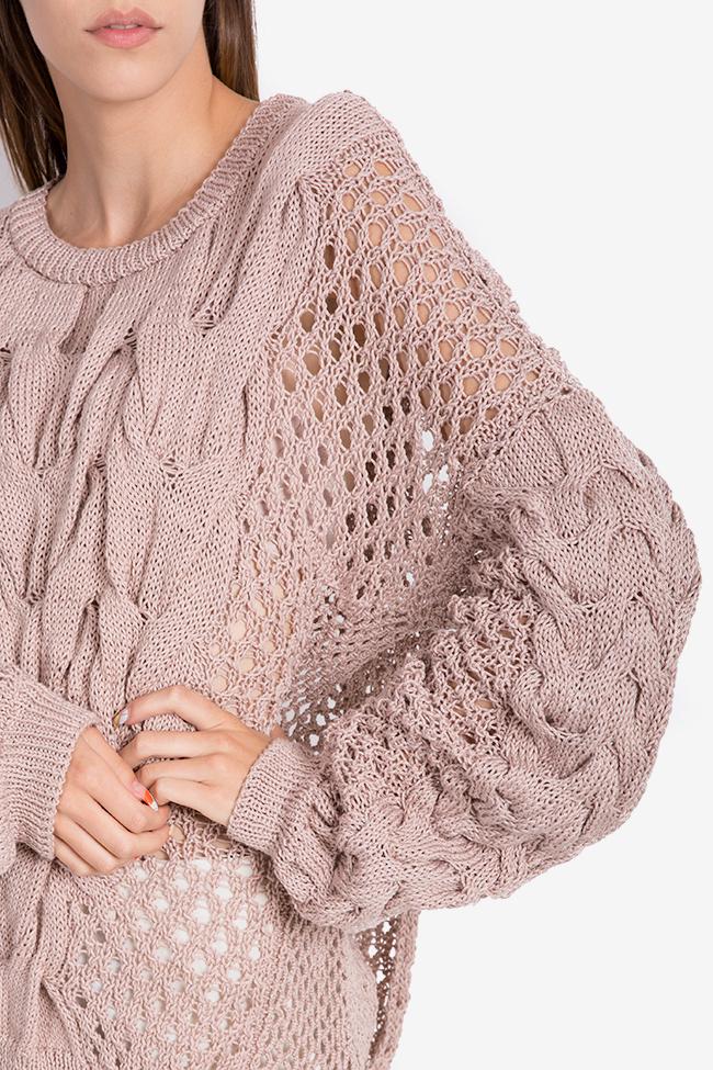 Oversized cutout cotton knitted sweater NARRO image 3