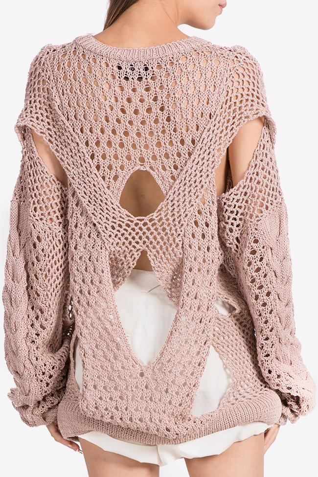 Oversized cutout cotton knitted sweater NARRO image 2