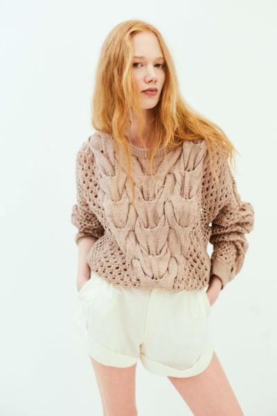 Oversized cutout cotton knitted sweater NARRO image 4