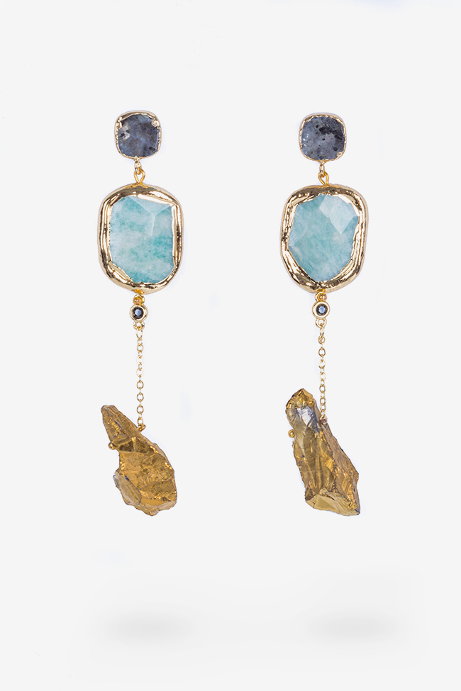 Gold-plated amazonite and quartz earrings Bon Bijou image 0