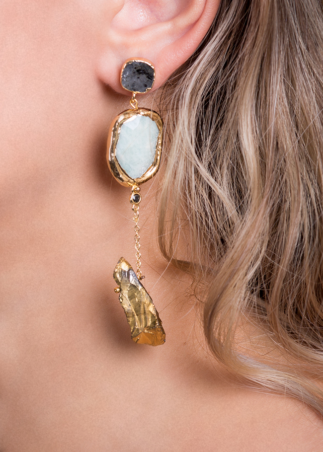 Gold-plated amazonite and quartz earrings Bon Bijou image 2