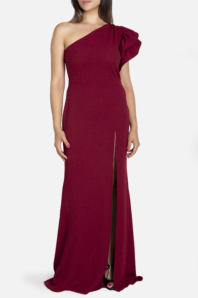 Aida one-shoulder ruffled stretch-crepe gown Bien Savvy image 0