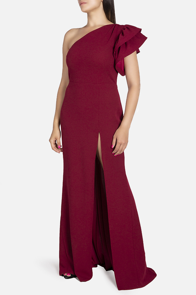 Aida one-shoulder ruffled stretch-crepe gown Bien Savvy image 1