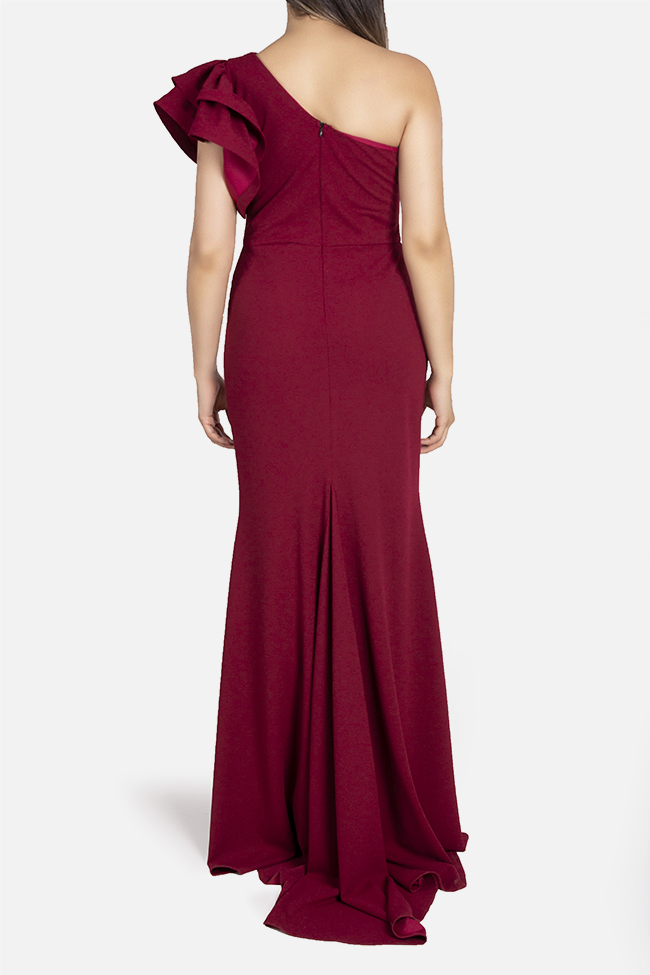 Aida one-shoulder ruffled stretch-crepe gown Bien Savvy image 2