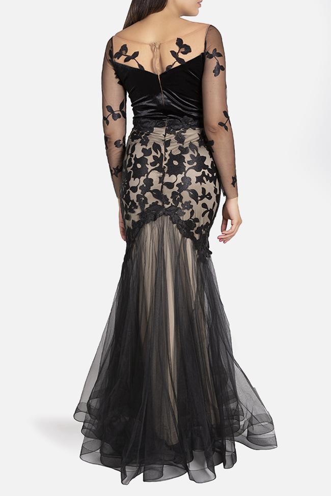 Daisy velvet-trimmed appliquéd tulle gown Bien Savvy image 2