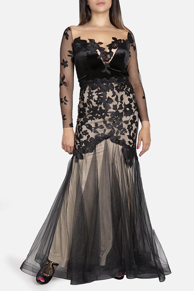 Daisy velvet-trimmed appliquéd tulle gown Bien Savvy image 0