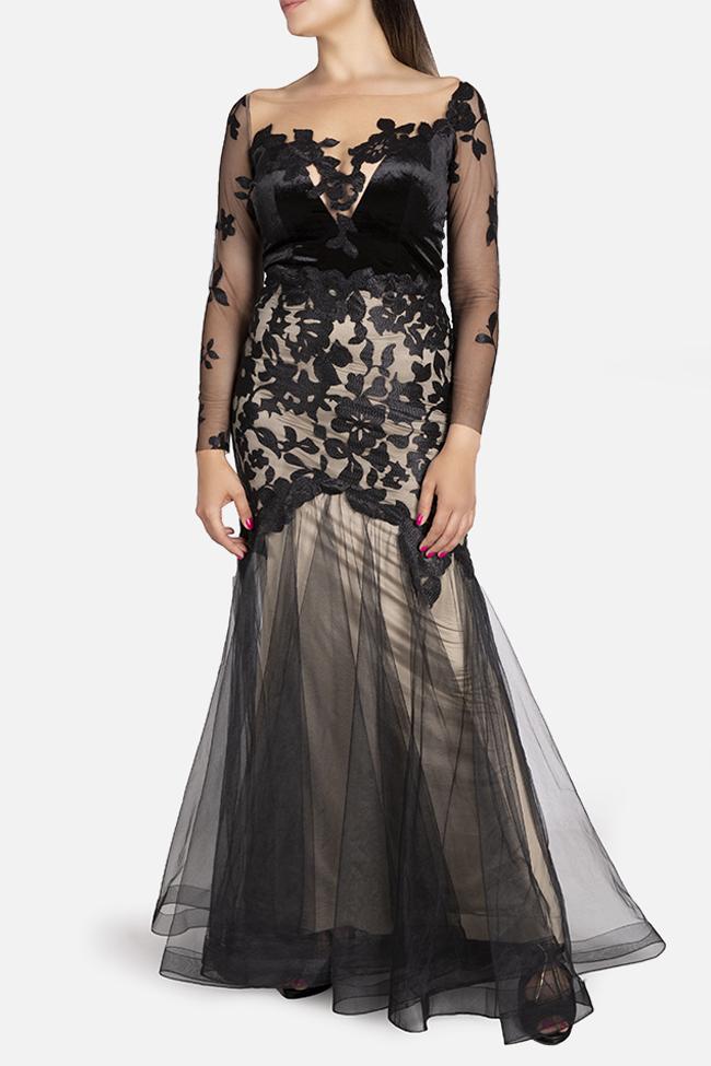 Daisy velvet-trimmed appliquéd tulle gown Bien Savvy image 1