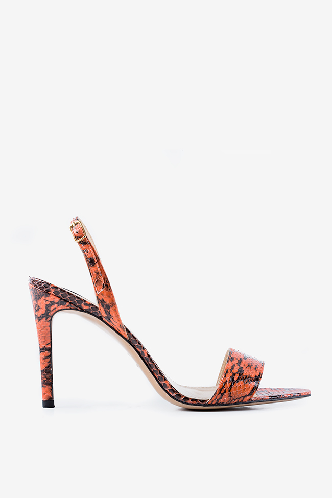 Agata python-effect leather sandals Ginissima image 0