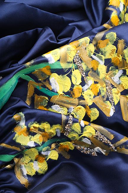 Rochie din tafta pictatam manual cu spatele gol Floare de salcam Lena Criveanu imagine 4