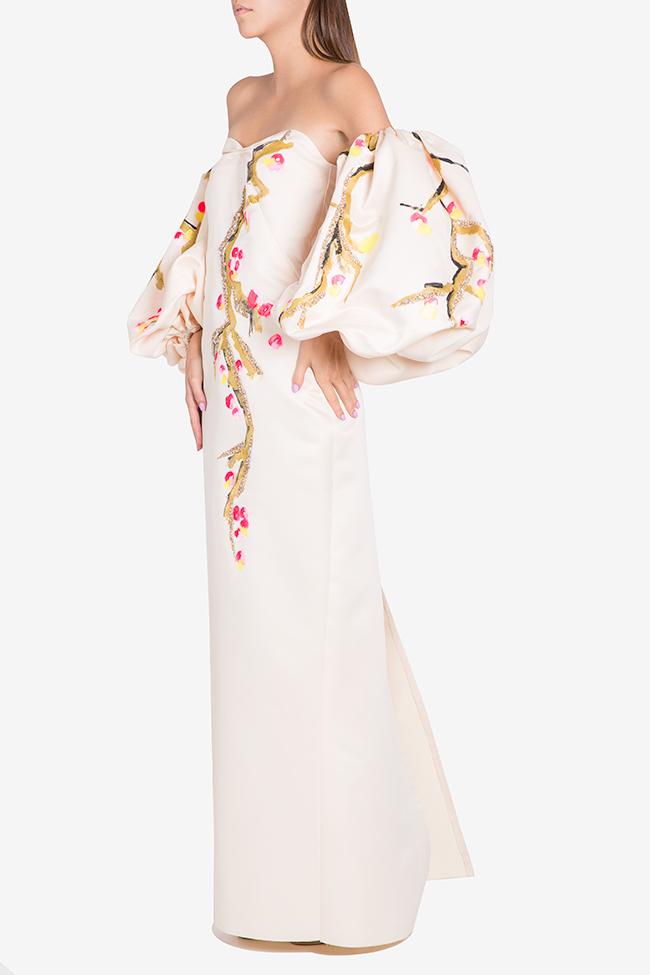 Robe en taffetas avec manchettes détachables peinte à la main Lena Criveanu image 0