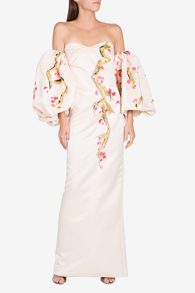Robe en taffetas avec manchettes détachables peinte à la main Lena Criveanu image 1