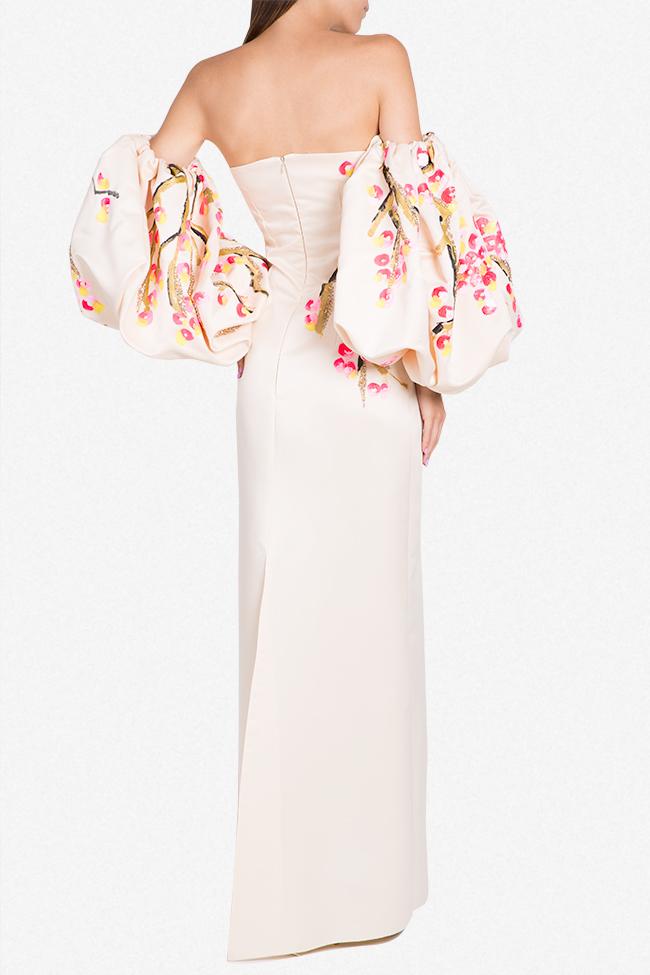 Robe en taffetas avec manchettes détachables peinte à la main Lena Criveanu image 2
