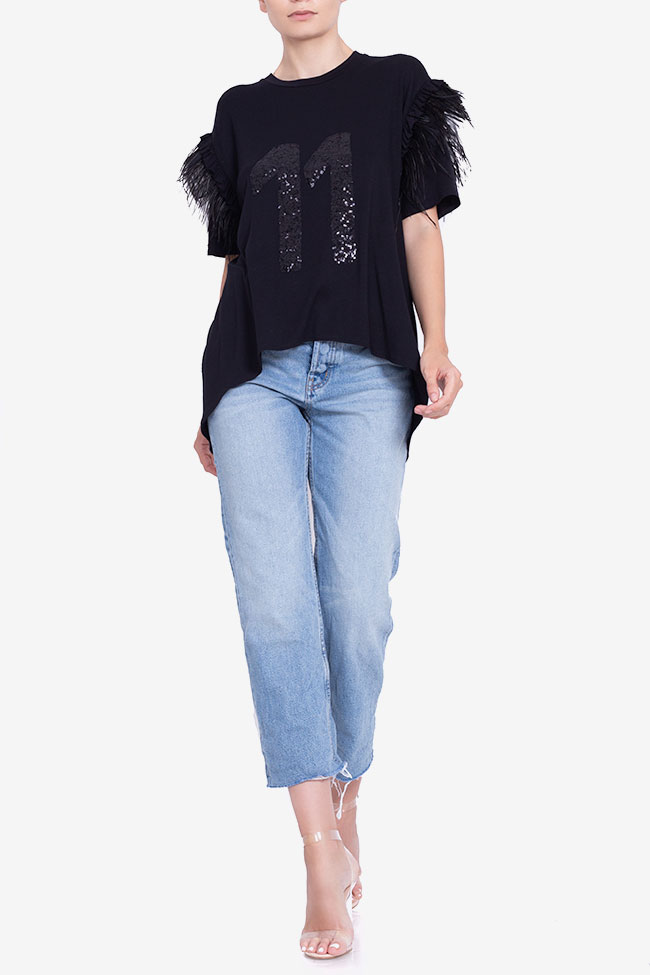 Asymmetric feather-trimmed cotton T-shirt BADEN 11 image 1