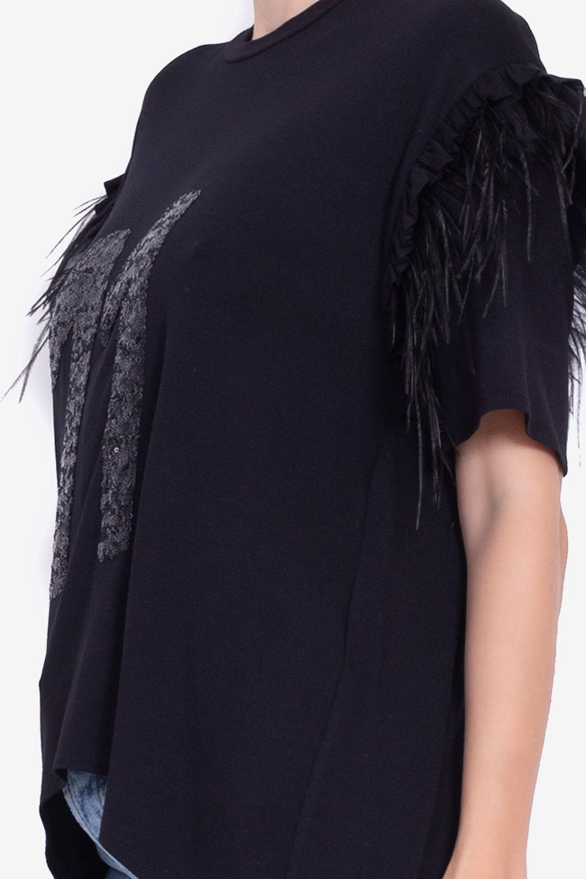 Asymmetric feather-trimmed cotton T-shirt BADEN 11 image 3