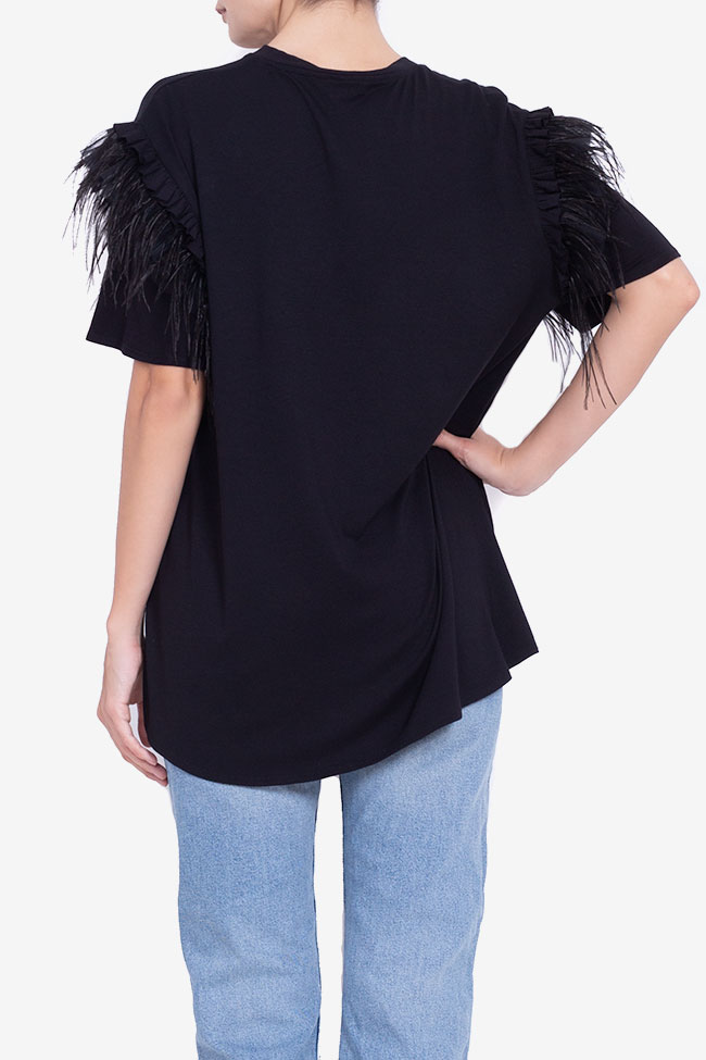 Asymmetric feather-trimmed cotton T-shirt BADEN 11 image 2