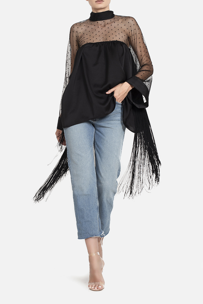 Fringed satin tulle top BADEN 11 image 0