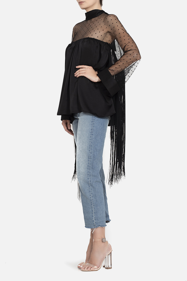 Fringed satin tulle top BADEN 11 image 2