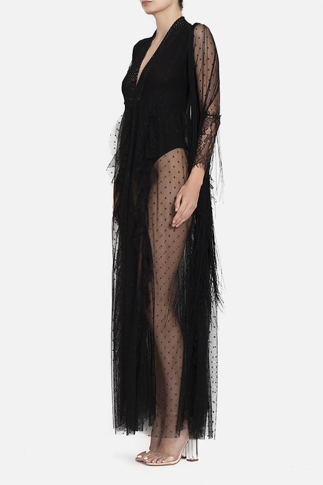 Robe maxi en tulle avec franges appliquées et body en lycra BADEN 11 image 2