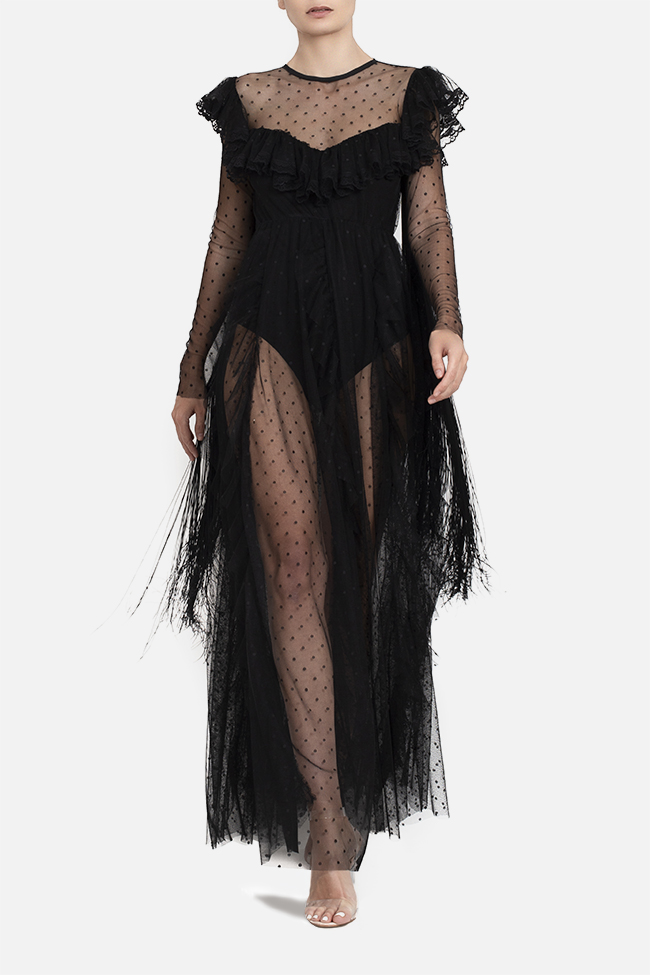 Tulle fringed lycra bodysuit maxi dress BADEN 11 image 0