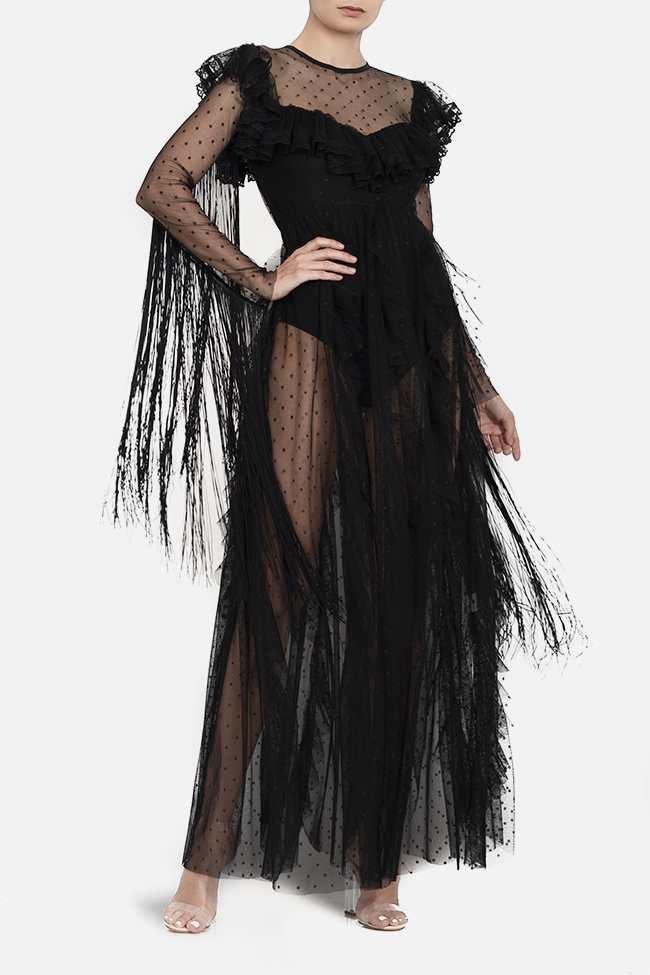Tulle fringed lycra bodysuit maxi dress BADEN 11 image 1