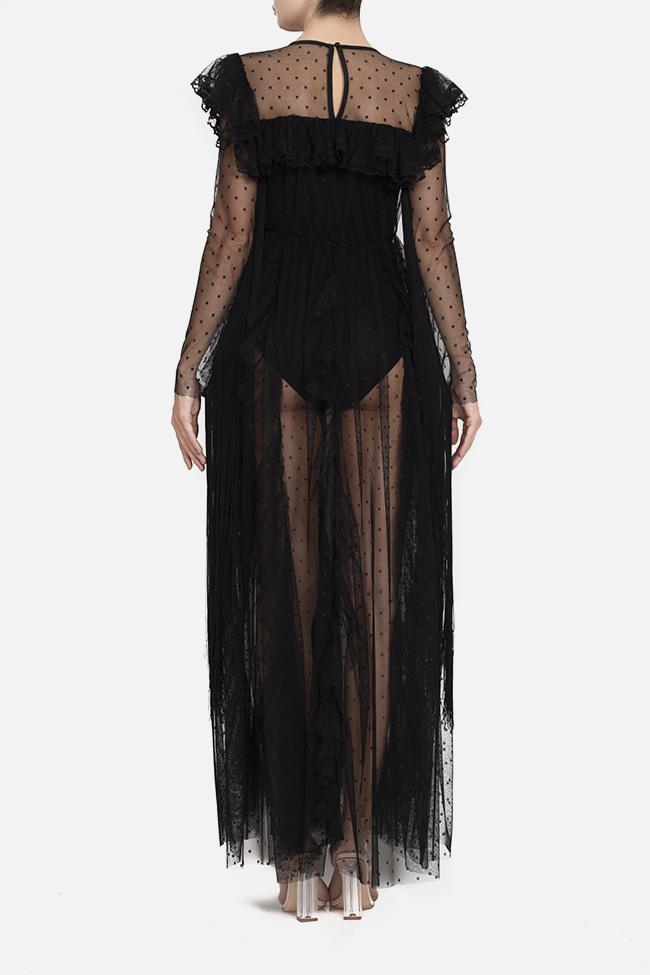 Tulle fringed lycra bodysuit maxi dress BADEN 11 image 2