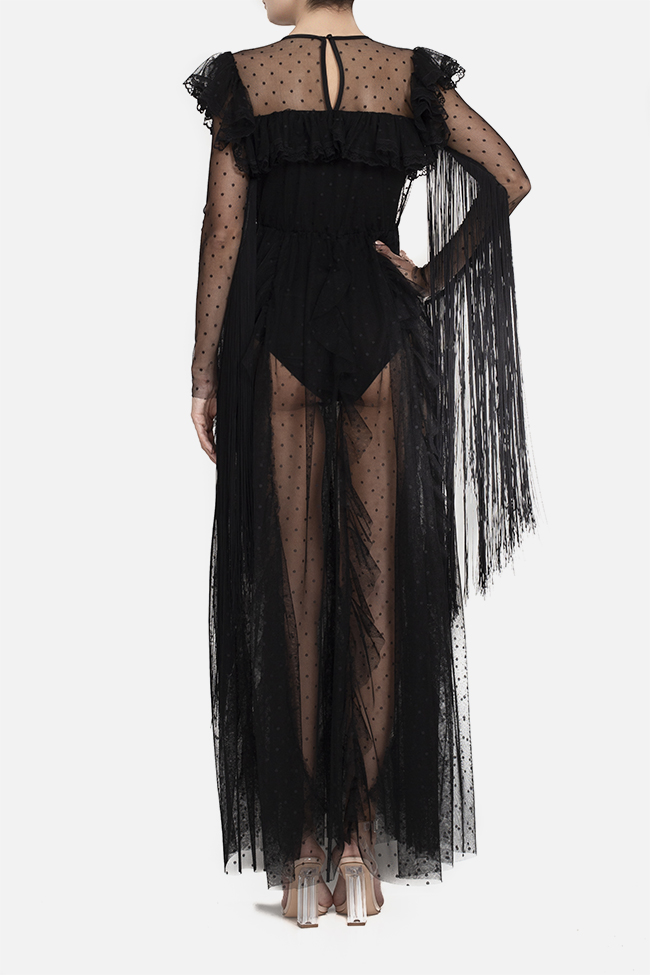 Tulle fringed lycra bodysuit maxi dress BADEN 11 image 3