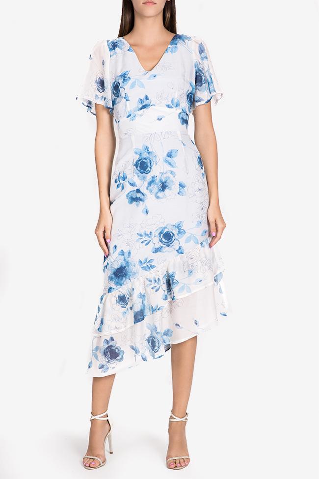 Hora floral-print asymmetric silk-blend midi dress DALB by Mihaela Dulgheru image 1