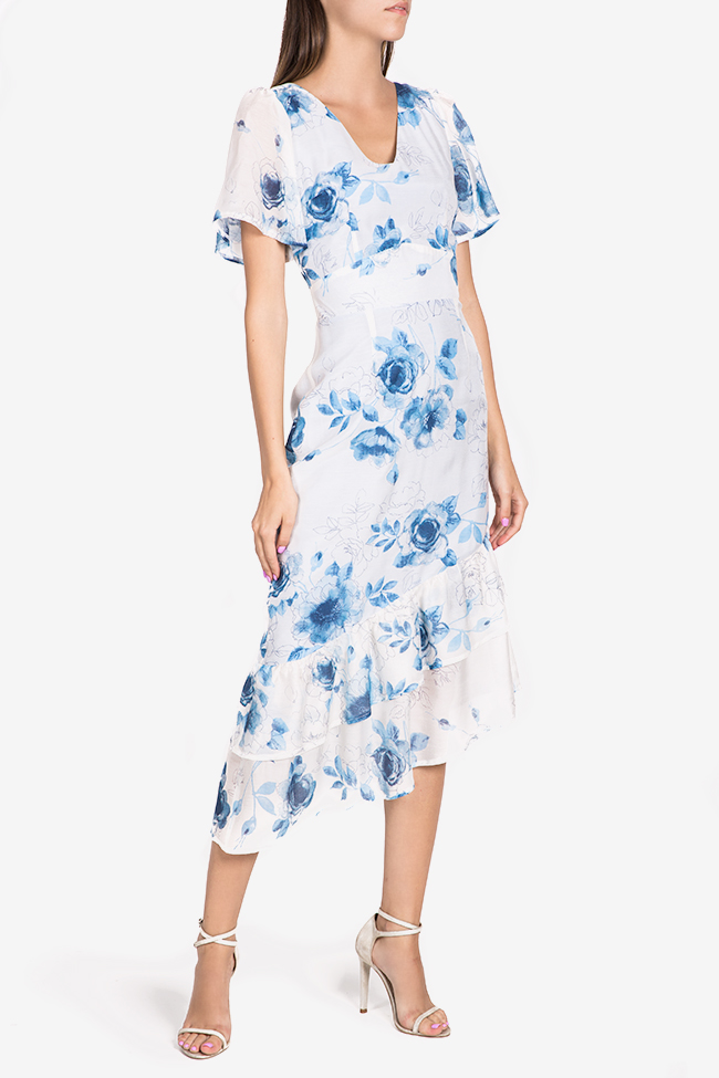 Hora floral-print asymmetric silk-blend midi dress DALB by Mihaela Dulgheru image 0