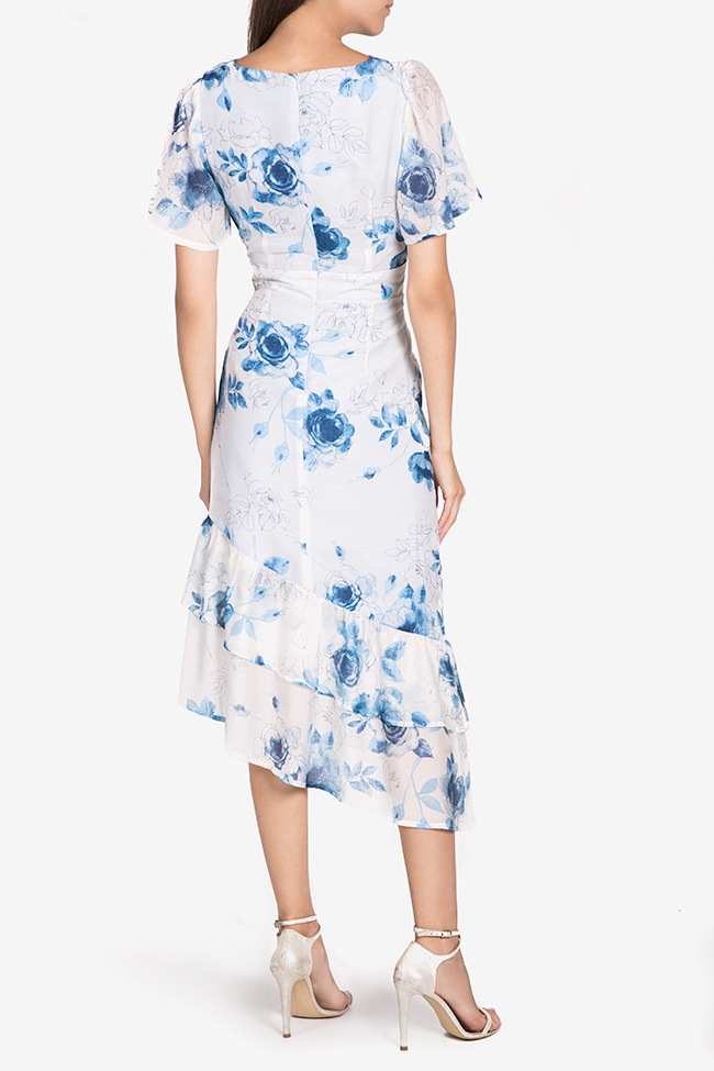 Hora floral-print asymmetric silk-blend midi dress DALB by Mihaela Dulgheru image 2